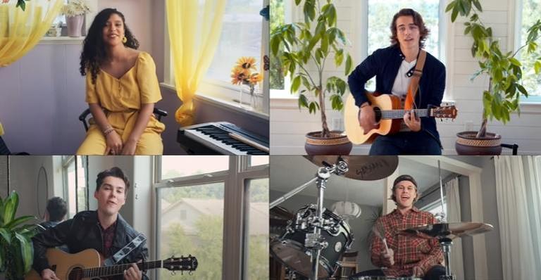 A banda, feita com as estrelas da série, gravou o vídeo respeitando o isolamento social