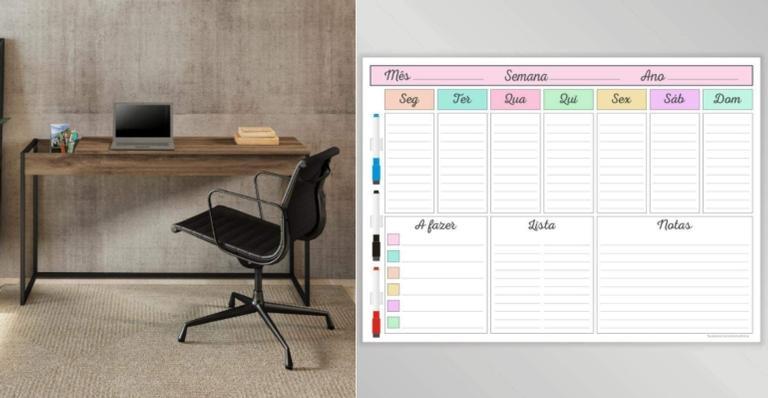 Prateleira, luminária e escrivaninha ideais manter a organização e aumentar a produtividade