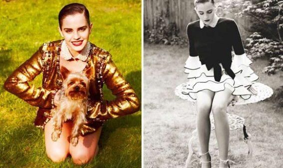 emma-watson-posa-em-revista-com-casaco-dourado-e-cachorro