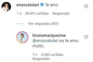 Enzo Celulari comenta em foto de Bruna Marquezine e atriz se declara