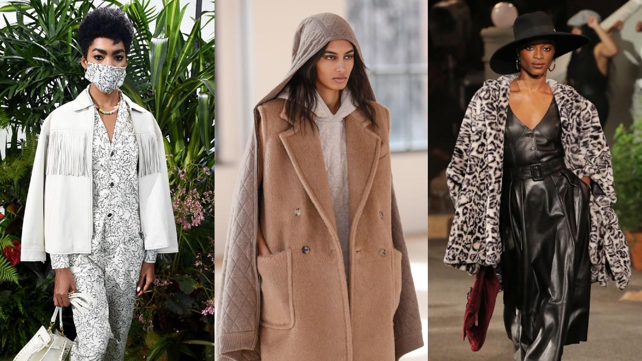 Modelos vestidas com colete de tricô e jaqueta de oncinha, tendências da moda do outono.