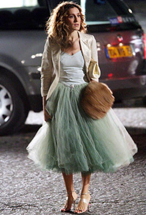 """Sarah Jessica Parker com uma saisa de tule em """"Sex and the City""""."""