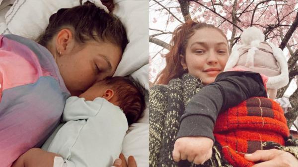 Gigi Hadid ao lado de sua primeira filha, Khai, no Dia das Mães