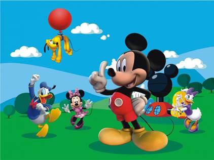 Painel De Festa A Casa Do Mickey Mouse Nuvens No Céu